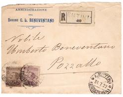 WQ64   Michetti 40c E 50c Su Busta Racc. Barone Beneventano Da Lentini X Pozzallo 1922 - Bolli Arrivo - Poststempel