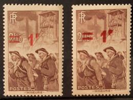 France 1940-41 N°489 Re Entry De La Surcharge + 1 Normal ** TB - Ongebruikt