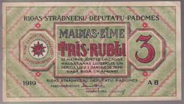 Billet 3 Rubli Lettonie / Latvia - Monnaie Locale Du Soviet De Riga - 1919 - TTB+ - Latvia