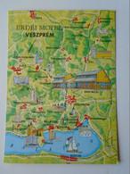 D177345  Map Carte  - Hungary  - Erdei Motel -Veszprém - Városlőd Szentgál - Balatonfüred - Ajka - Bakonybél - Zirc - Landkaarten