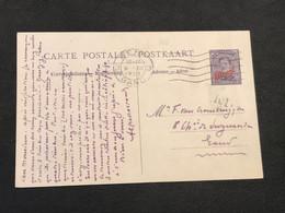 Postkaart Paquebot Ostende-Dover Type Albert I 10c Op 15c Gent Gand - Gand - Bootkaarten