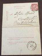 Postkaart Leopold II 10c - Herenthals - Thielen 24 Nove 1886 - Postcards [1871-09]