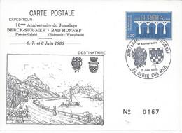Entier Postal EUROPA Repiqué Oblitération BERCK SUR MER 1986 JUMELAGE BERCK - BAD HONNEF (Allemagne) - Standaardpostkaarten En TSC (Voor 1995)