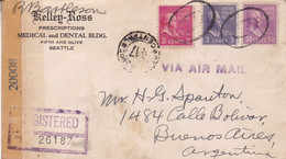 USA. KELLEG-ROSS, MEDICAL DENTAL. ENVELOPPE. CIRCULEE SEATTLE A BUENOS AIRES, ARGENTINA. 1944. CESURE RECOMMANDE.- LILHU - Covers & Documents