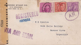 USA. MIDWOOD STAMP CO. ENVELOPPE. CIRCULEE NEW YORK A BUENOS AIRES, ARGENTINA. 1944. CESURE, PAR AVION.- LILHU - Covers & Documents