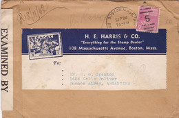 USA. H.E. HARRIS & CO. ENVELOPPE. CIRCULEE BOSTON A BUENOS AIRES, ARGENTINA. 1942. CESURE.- LILHU - Covers & Documents
