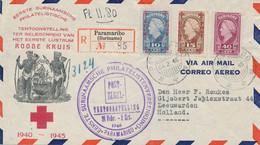 Suriname - 1946 - Rode Kruis / Red Cross LP-serie + 40 Cent Wilhelmina Op R-cover Van Paramaribo Naar Leeuwarden - Surinam ... - 1975