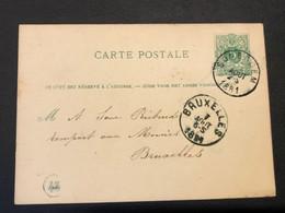 Postkaart Liggende Leeuw 5c - Somergem - Bruxelles 7 Aout 1881 - Postkaarten [1871-09]