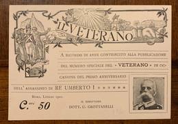 Savoia Famiglia Reale Personaggi Famosi Cartolina In Occasione Del Primo Anniversario Dell'assassinio Di Re Umberto I - Koninklijke Families