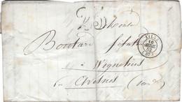 LILLE Cachet 15 16 Avril 1852 Taxe Double Trait 25 Sur Lettre Pour AVESNES WIGNEHIES Belle Frappe Mais état Moyen - 1849-1876: Klassik