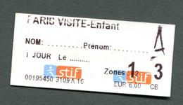 """Ticket """"Paris Visite Enfant"""" Train / Métro / Bus / Tramway - RATP / SNCF - Billet Ile-de-France - Europe"""