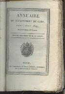 Annuaire Du Département Du Gers, Pour L'année 1819, Avec Le Système De Toaldo, Imprimé Par Ordre De M. Le Préfet - Colle - Annuaires Téléphoniques