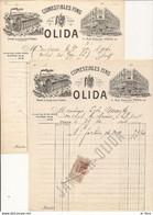 LOT DE 2 FACTURE COMESTIBLES FINS OLIDA 1906 1907 PARIS - France - 0 - Ohne Zuordnung