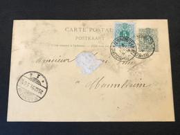 Postkaart Liggende Leeuw 5c Bijfrankering 5c - Bourcy Longwilly - Mannheim (Dui) 28 Ec 1891 - Postcards [1871-09]