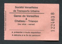 """Ticket Bus Versailles Années 70 """"Société Versaillaise De Transports Urbain / Gares De Versailles à Château - Trianon"""" - Unclassified"""