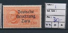 ITALY ZARA SASSONE E2 MNH - Deutsche Bes.: Zara