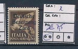 ITALY ZARA SASSONE 2 MNH - German Occ.: Zara