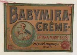VINTAGE BABYMIRA  CREME  TIN  SIGN   PLAQUE  CZECH REPUBLIC LANGUAGE   33 X 23 Cm - Nettoyage