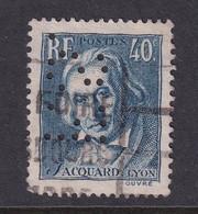 Perfin/perforé/lochung France 1934 No 295 F.S. Forges De Métallor - Perforés