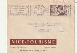 ENVELOPPE TIMBREE DE 0600 NICE A 80100 ABBEVILLE En 1952 - Usados