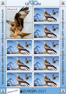 "Artsakh 2021 ""Europa""The National Endangered Wildlife. Red Kite,Marbled Polecat,Apollo"" 3 Sheets Quality:100% - Armenia"