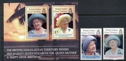 BIOT 2000 Queen Mother 100th Birthday + MS MUH - British Indian Ocean Territory (BIOT)