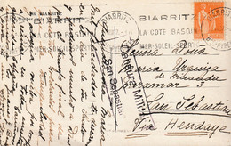 1938-T.POSTAL- INCOMMING MAIL. BIARRITZ A SAN SEBASTIAN. Censura - 1931-50 Lettres