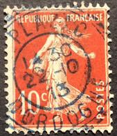 138 ° 14 Dordogne Plazac BLEU Tireté Semeuse 10c Rouge 22/10/1913 Oblitéré - 1877-1920: Semi-Moderne