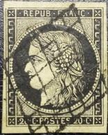 FRANCE Y&T N°3h Cérès 20c Noir Intense. Oblitéré Grille. TB.... - 1849-1850 Ceres