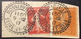 138 ° 40 Seine Et Oise Monnerville Tireté Semeuse 10c Rouge + 141 9/12/1917 Oblitéré - 1877-1920: Semi-Moderne