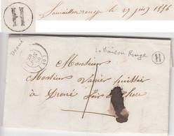 LOIR ET CHER LAC 1856 ( DROUE ) LOCALE TAXE 1 AVEC BOITE RURALE H = LA MAISON ROUGE - 1849-1876: Classic Period