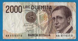 ITALIA 2000 LIRE 03.10.1990 # AA077037D  P# 115 Guglielmo Marconi - 2000 Lire