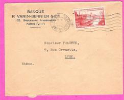 Congrès UPU Paris 1947 6 Frcs Rouge YT782 Perforé VB Seul Sur Enveloppe De La Banque Varin-Bernier Et Cie 1947 - Perfins