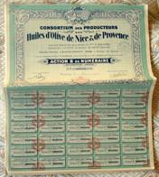 France - Lot 12 Actions Consortium Des Producteurs Des Huiles D'Olive De Nice Et De Provence 1930 - Agriculture
