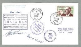 TAAF / FSAT TIMBRE N° 19 CHARCOT SUR PLI PERSONNEL DE PAUL-ÉMILE VICTOR OBLITÉRE TERRE ADÉLIE 31.12.1965 - Covers & Documents