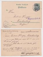 02700 DR Ganzsachen Postkarte P50 Zudruck Heinr. & Aug. Brüning Hanau 1902 - Postwaardestukken