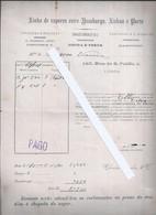 Bill Of Lading For The 1888 'Elba' Boat, Hamburg. Steam Line Between Hamburg, Lisbon And Porto. Elbe-boot Uit 1888 - Portugal
