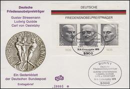Block 11 Friedensnobelpreisträger - Auf FIDACOS-Schmuck-FDC ESSt Bonn 14.11.1975 - Premio Nobel