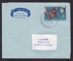 British Solomon Islands: Stationery Aerogramme To Switzerland, 1966, Fishing, Queen, First Day? (pencil Writing At Back) - Salomonen (...-1978)