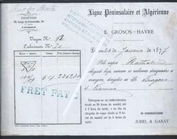 Peninsular And Algerian Sea Line. Bill Of Lading Of The Nathalie Steam From 1877. E. Grosos , Havre. Juhel & Garay - Portugal