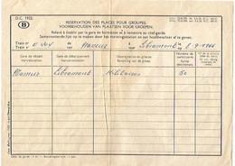 TRAIN/RESERVATION DES PLACES POUR GROUPE /MILITAIRES/NAMUR-LIBRAMONT/8.9.1966 - Other