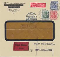 Moselle -Creutzwald - L Exprès Obl. KREUZWALD (LOTHR) Du 14.9.1916 + Censure Metz - Brieven En Documenten