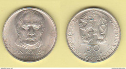 Cecoslovacchia 50 Corone Kronen 1977 Czechoslovakia Jan Kollar Siver Coin - Czechoslovakia