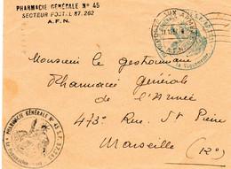 "ALGERIE.1957.1 LETTRE F.M.""PHARMACIE GENERALE N°45"".""S.P.87.262"". - War Of Algeria"