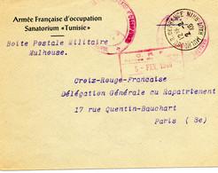 """FRANC.-ALLEMAGNE.1946. LETTRE """"ARMEE FRANCAISE D'OCCUPATION/ SANATORIUM TUNISIE"""". - WW II"""