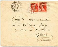 """FRANCE.1914-15. 2  LETTRES. 1914, Affranchissement """"CROIX-ROUGE"""" INTERDIT Pour L'étranger. - Red Cross"""