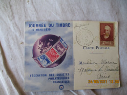 Timbre Anatole France 30 Plus 10 C Seul Sur Lettre Carte Federale  Journee Du Timbre 1939 - 1921-1960: Periodo Moderno