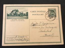 Postkaart Albert I Kepi 35c Brugge Ezelpoort - Gebruikt Brugge 3 - Postcards [1909-34]