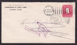 USA: Stationery Cover, 1906, Washington, Returned, Retour Cancel Finger, Commissioner Public Lands Olympia (staple Hole) - Storia Postale