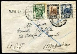 Z2665 ITALIA COLONIE LIBIA 1941 Lettera Affrancata Con Pittorica 20 + 30 C. + L. 1,25, Da Tripoli 1.9.41 Per Mogadiscio, - Libya
